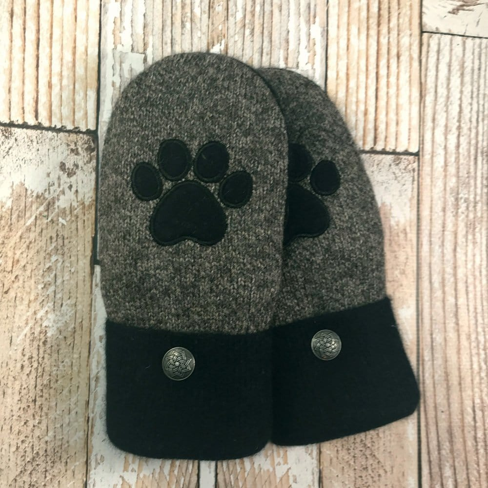 Gray wool mittens with black dog paw design