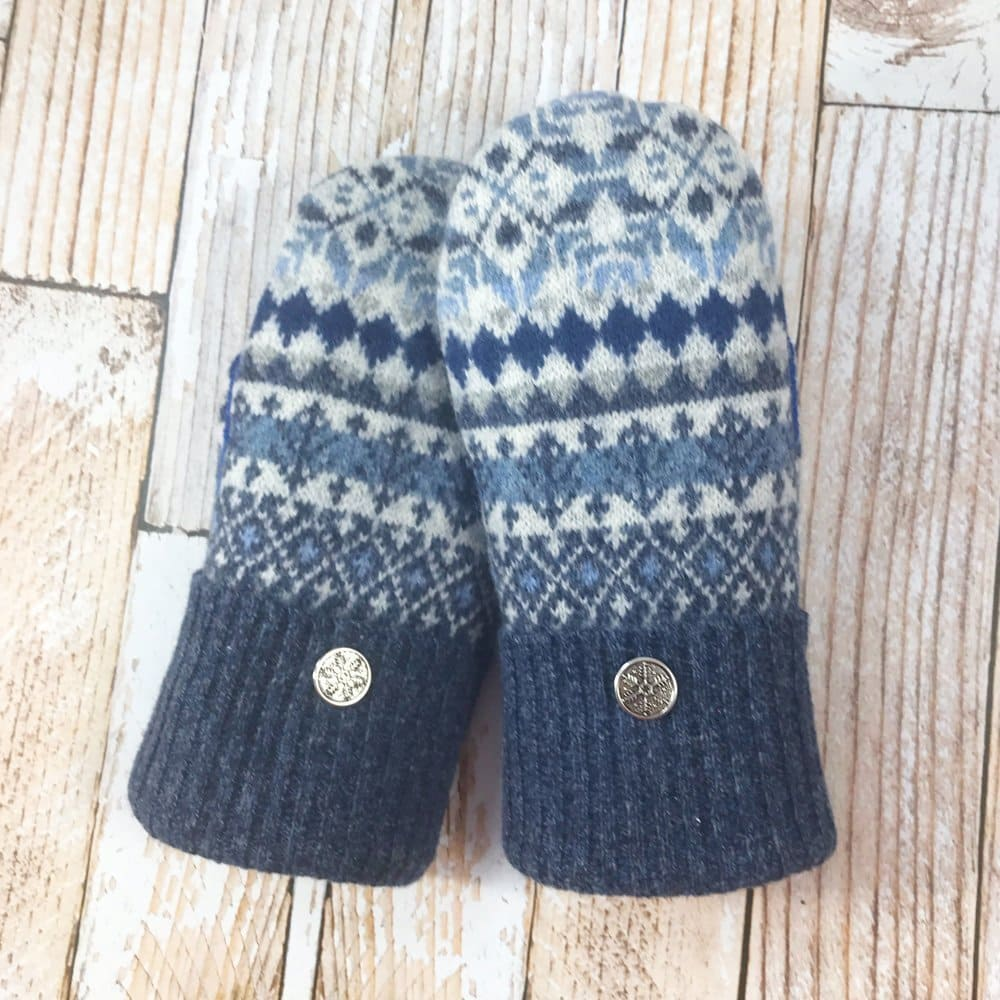 premium wool sweater mittens with blue pattern design