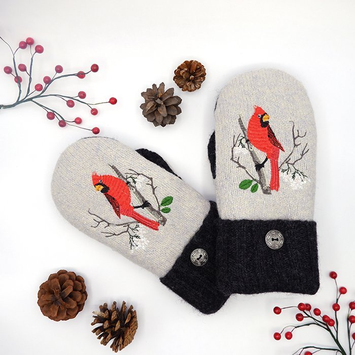 Sweater Mittens with embroidered cardinal design