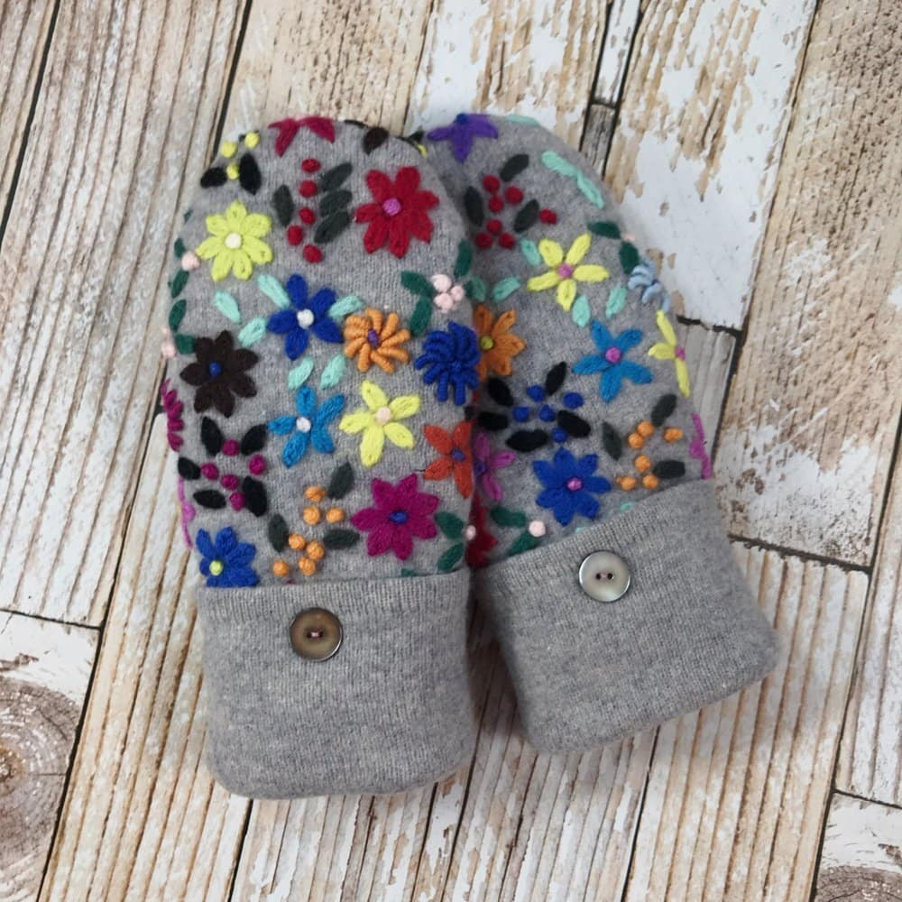 gray wool mittens with embroidered flowers