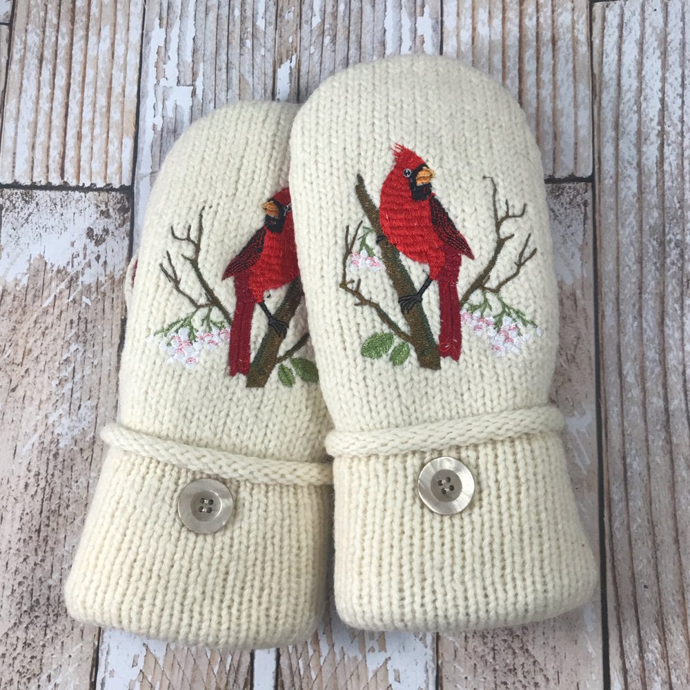 Winter white cardinal mittens