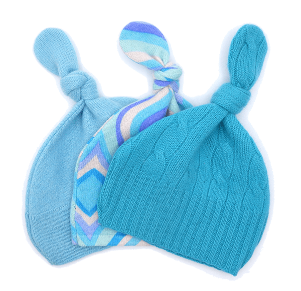 3 light blue wool baby hats